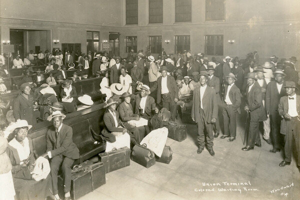 Historical photograph of Union Terminal waiting room with African American travelers