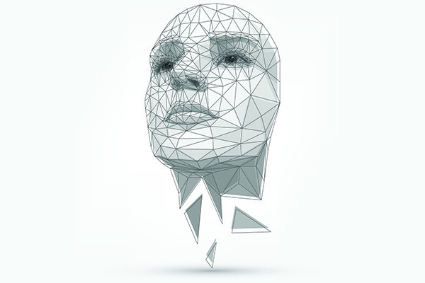 Human face mapped out with 3D modeling