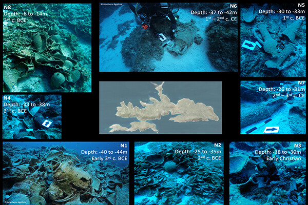 Grid of underwater images with data indicating depth and time period.