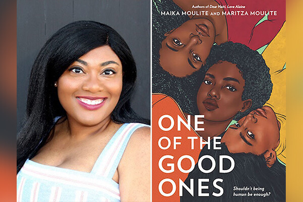 Maritza Moulite headshot at left, cover of her book, One of the Good Ones, at right.