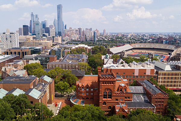 Arial view of Penn campus
