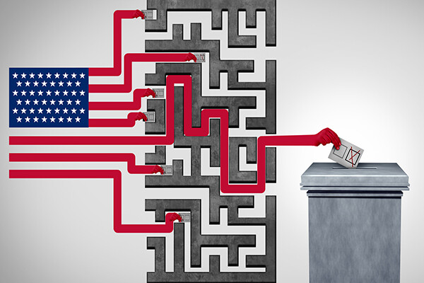An illustration of an American flag shows the stripes separating into a maze and one winding up at a ballot box