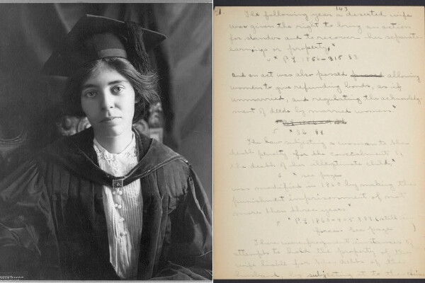 Alice Paul in her graduation gown and a handwritten page from her dissertation.