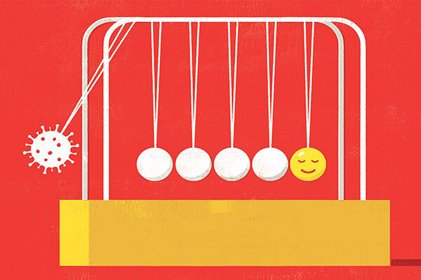 Newton's cradle where one end swinging ball is a covid virus cell and the other is a content happy face.
