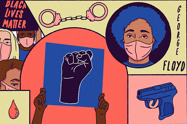 Cartoon montage of a protest, a raised fist, a gun, and a masked African American individual.