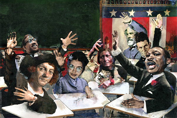 Caricature drawing of historical figures including Rosa Parks, MLK, Ben Franklin, an Indigenous person, sitting at classroom desks raising their hands.