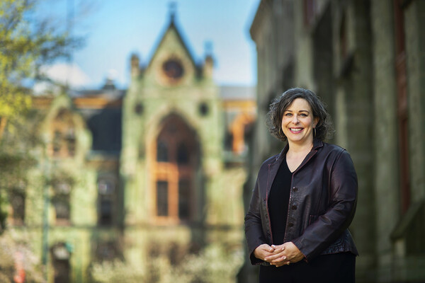 Professor Elly Truitt standing on Penn's campus