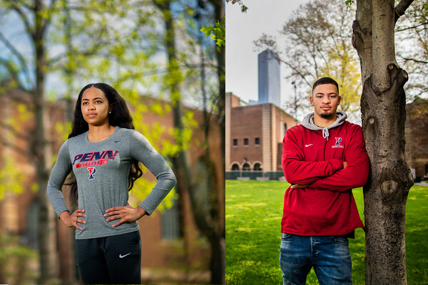 A composite of Michae Jones, left, and Jelani Williams right. Both are standing outside of the Palestra. Williams, wearing a red Penn hoodie, leans against a tree with his arms folded. Jones stands with her hands on her hips.