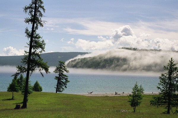 fog rolling in over mongolia water