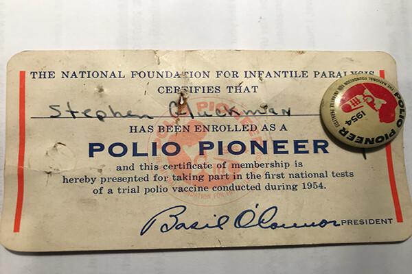 Stephen Gluckman's polio vaccination card