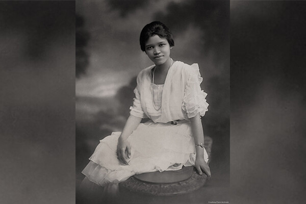 Sadie Tanner Mossell Alexander in her graduation dress in 1921.