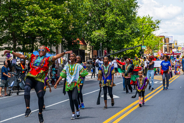 A Juneteenth parade in Philadelphia streets
