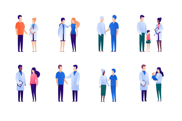 Cartoon of medical professionals standing one-on-one with individuals of various races, ages, family structure.