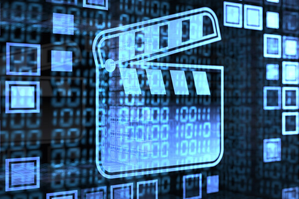 Digital clapperboard against a background of ones and zeros indicating big data.