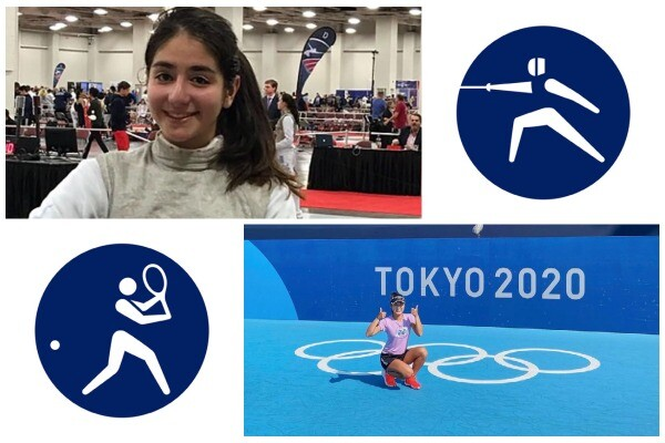 Katina Proestakis (top) in her fencing uniform next to a pictogram of a fencer. Chieh-Yu (Connie) Hsu (bottom) gives a thumbs up next to a pictogram of a tennis player.
