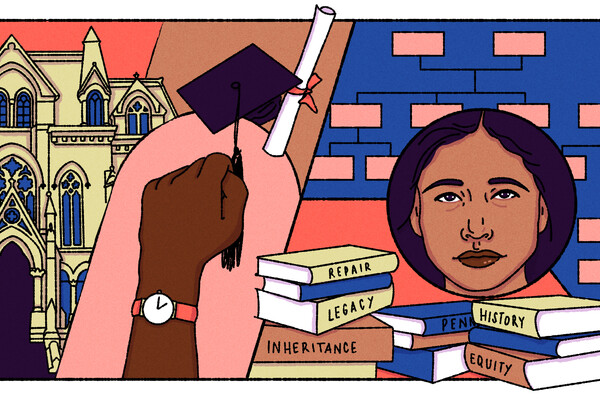 Drawing of books, an African American student's face, a diploma, a fist in the air.