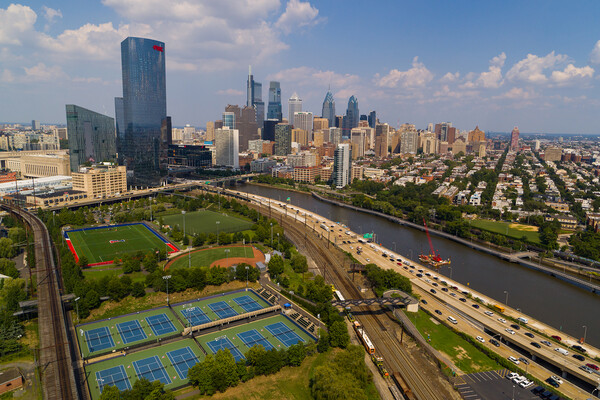 Panoramic view of Philadelphia and the Schuykill River.