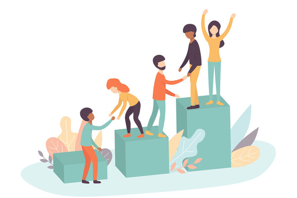 An illustration of people helping each other move from small pedestal to medium pedestal to large pedestal, in an effort to demonstrate peers helping each other.